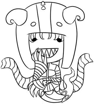Candy Corn Demon (Linework) by ChocoPiee
