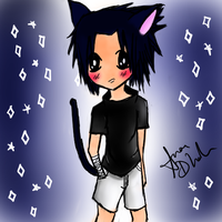 + chibi sasuke + neko + by blueandpurple-rock