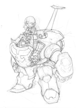 Mecha pin-up pencil by donsimoni