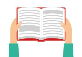 Hands Holding Book Flat Vector by superawesomevectors