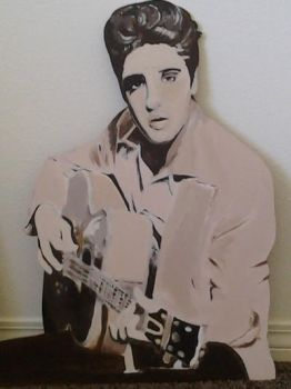 Hand painted wooden Elvis cut-out  by LadyElvis