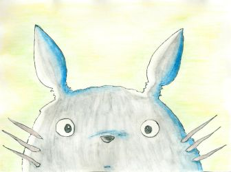 Totoro - water colour pencil experiment by unikorn