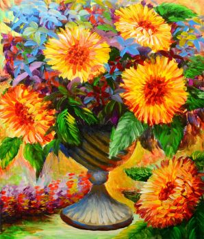 ACRYLIC PAINTING TUTORIAL 30 - SUN FLOWER by beejay-artlife12