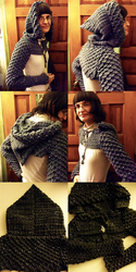 Crocheted Hooded Dragon Scale Shrug by MidknightStarr