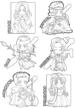 Chibis lineart by CreamyWay