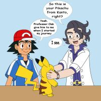 Professor Sycamore, Ash and his Pikachu by MCsaurus