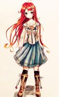 Flowing blue skirt, flaming red hair by kachi-kuu
