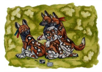 Three painted dogs by Vlcek