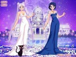 Queen Serenity, Queen Saeko and Luna by kaybugg1