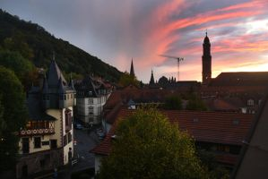 Evening falls on Heidelberg by wildplaces