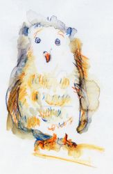 Owl Chick - Watercolor Pencils by mitsukomitsuko