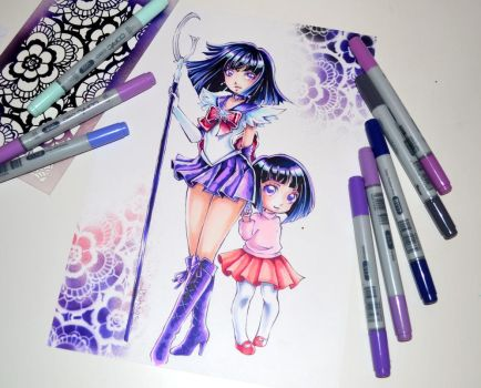 Sailor Saturn and little Hotaru by Lighane