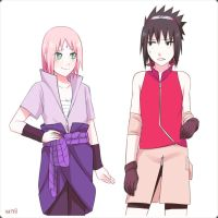 Sasusaku's outfit swapping by nattouh