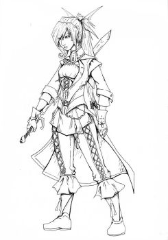Warrior Maiden Lineart by bluesilverlily