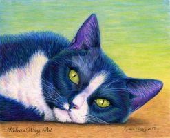 Colorful Pet Portrait - Mama Kitty by rebeccawangart