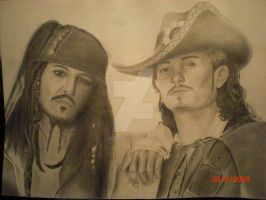 Jack Sparrow and Will Turner by shoutgirl11