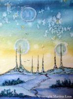 Atc Three Moon City by dragonflywatercolors