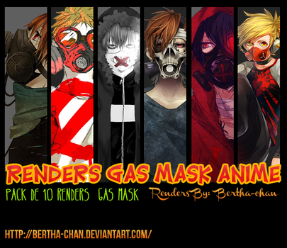 Pack de 10 renders gas mask Anime by Bertha-chan