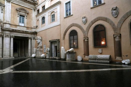Capitoline Museums Courtyard in the Rain, Rome by RichardEly