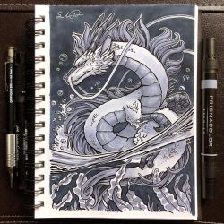 Inktober Day 10 - Flowing by TsaoShin