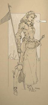 Doodle - Female Medieval Concept Knight by Hanseul-Kim