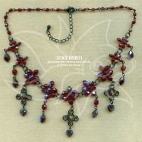 Dark red (AB) and black nickel necklace by spaceship505