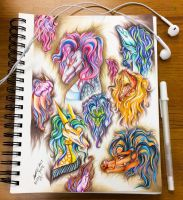 Colorful haired dragons Test by Artistlizard101