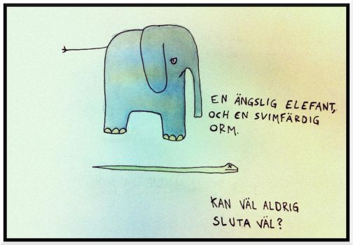 An anxious elephant, and a nauseous snake. by mypersonalwar