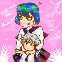 Earth-chan And Moon-chan by ValeChY