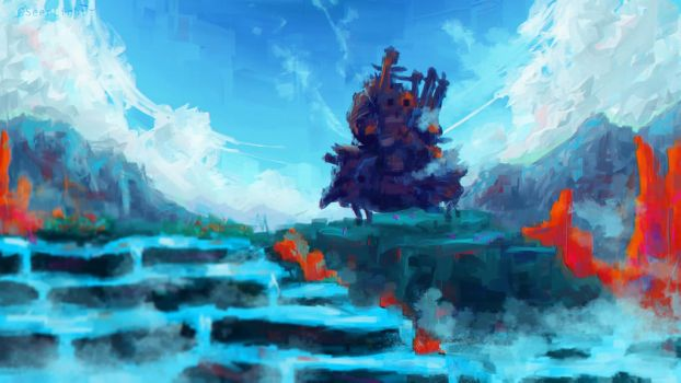 Howl's Moving Castle +YT Painting Process by SeerLight