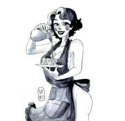 Pin-up Inktober Day 5- Cooking by TheArtOfVero