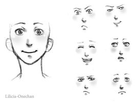 Facial Expresions Practise. by Lilicia-Onechan