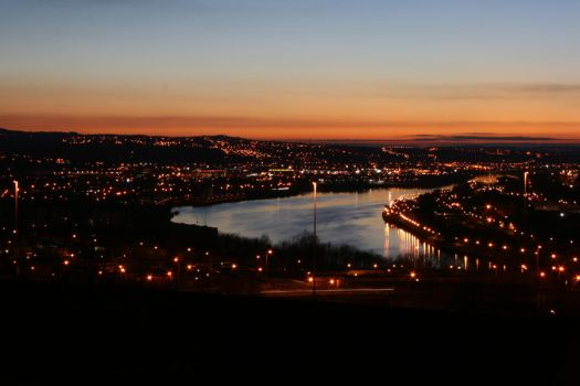 Spring Sunset over the Tyne by Badger-dragon