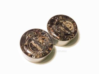 7/8 1 PAIR Single Flare Steampunk Tunnels Gauges P by jewelryfx