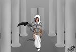 A Half Elf Assassin In A Temple by Brutalwyrm