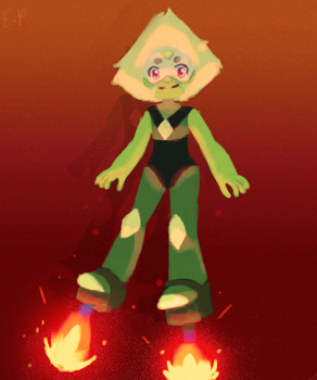 Peridot with rocket shoes by emilybunnysoft