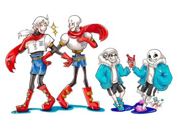Undertale and SurfaceTale: Pap and Sans by TiamatART