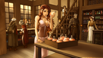 Commission - Mylea in Potion Shop - Soft Colors by RoninDude