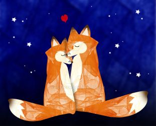 Starry Night Foxes by rockgem