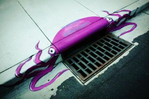 Storm Drain Octopus by abcartattack