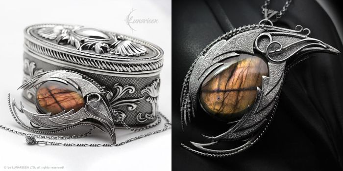 THARNARR DRACO - Silver and Labradorite by LUNARIEEN