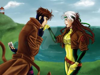 Commission: Gambit and Rogue by TerraForever