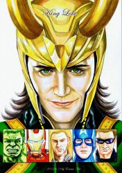 King Loki and avengers by beckpage