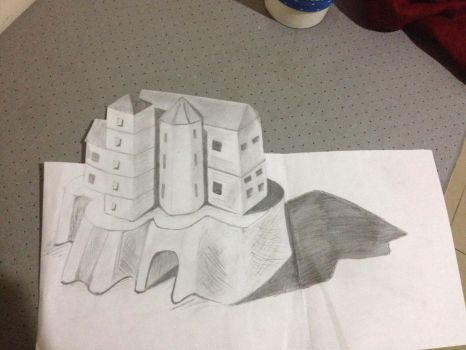 3D sketch of a sand castle  by fastestbabloo