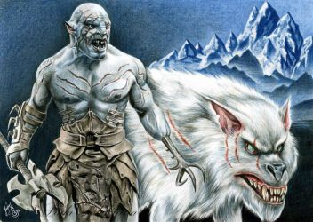 The pale Orc Azog the Defiler with mount Gundabad by slightlymadart