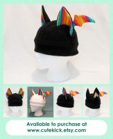 Rainbow Stripes Bat Hat Black White by cutekick