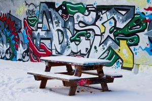 Snowy graffiti by Bozack