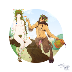Satyr Wooing Nymph by LuanMonta