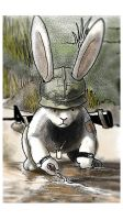 Bunny world US Infantryman Collects Water by hannay1982