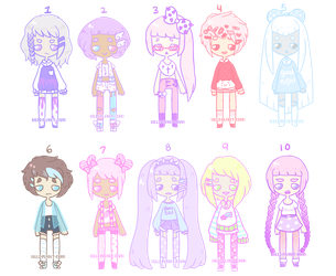 Cute Pastel Adopts [CLOSED] by hello-planet-chan